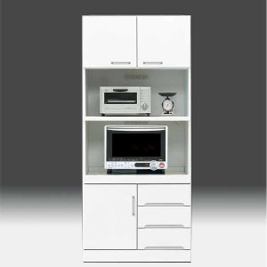 レンジ台 白家具 鏡面 食器棚 レンジボード 日本製 一本立ち完成品  幅80cm 高さ180cm  白 ホワイト 鏡面仕上げ GOK|crescent