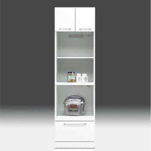 レンジ台 白家具 鏡面 食器棚 レンジボード 日本製 一本立ち完成品 幅50cm 高さ180cm モイス付き 白 ホワイト 鏡面仕上げ GOK m004-csl-thr50|crescent