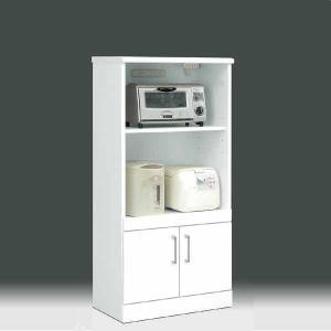 レンジ台  白家具 鏡面 キッチン収納 日本製 一本立ち完成品  幅60cm 高さ129cm キッチン レンジ収納 白 ホワイト 鏡面仕上げ GMK-hako|crescent