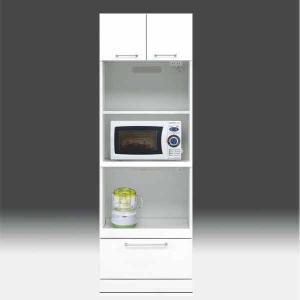 レンジ台 白家具 鏡面 食器棚 レンジボード 日本製 一本立ち完成品 幅60cm 高さ180cm モイス付き 白 ホワイト 鏡面仕上げ GOK m004-csl-thr60|crescent