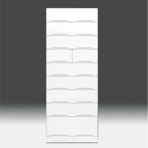 チェストタンス タワーチェスト 日本製 一本立ち完成品 幅70cm 9段 高さ180cm ハイタイプ 白 ホワイト 鏡面仕上げ GOK|crescent