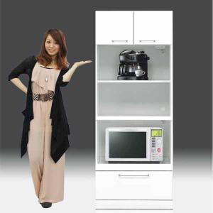 レンジ台 白家具 鏡面 食器棚 レンジボード 日本製 一本立ち完成品 幅70cm 高さ180cm モイス付き 白 ホワイト 鏡面仕上げ GOK crescent