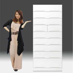 チェストタンス タワーチェスト 日本製 一本立ち完成品 幅80cm 9段 高さ180cm ハイタイプ 白 ホワイト 鏡面仕上げ GOK|crescent