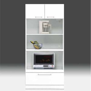 レンジ台 白家具 鏡面 食器棚 レンジボード 日本製 一本立ち完成品 幅80cm 高さ180cm モイス付き 白 ホワイト 鏡面仕上げ GOK crescent