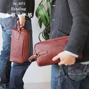 セカンドバッグ ダブルファスナー シボ 牛革 本革 ラガード ネヴァダ-NEVADA- NO.4972 日本製 ブラウン   あすつく pt10|crescent