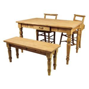 カントリーパイン無垢材 オイル仕上げ 食卓4点セット ダイニング4点セット ダイニングテーブルセット m006-|crescent