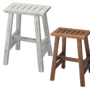 スツール アイボリー/ブラウン チェア イス 椅子 いす アンティーク風仕上げ 白家具 カントリーチック  m006- 限界価格 クーポン除外品|crescent