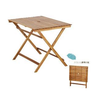 テーブル 幅90cm ダイニングテーブル パラソル使用可能 アカシア材 m006-  -|crescent