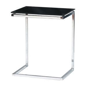 サイドテーブル 幅45cm ガラステーブル スチール スタイリッシュ モダン m006-|crescent