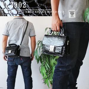 ミニダレスバッグ 2WAY ワニ柄 型押し ショルダーバッグ メンズバッグ 鍵付き あすつく|crescent