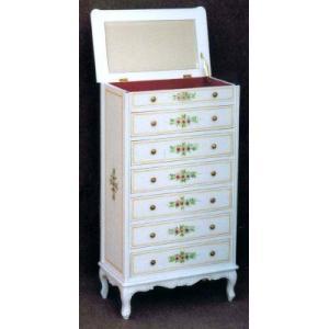 輸入家具 白い家具 チェスト ミラー付|crescent