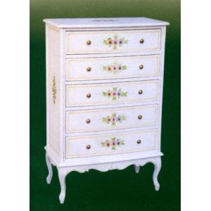 輸入家具 白い家具 5段チェスト 姫系|crescent