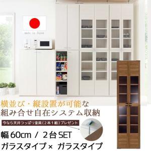 収納家具 幅60cm ガラスタイプ 2個セット 天井ツッパリ金具付き 日本製 完成品   壁面収納ラック キッチン収納 キャビネット|crescent