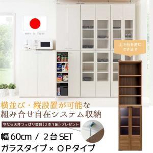 収納家具 幅60cm ガラスタイプ×OPタイプ 2個セット 天井ツッパリ金具付き 日本製 完成品   収納ラック キャビネット|crescent