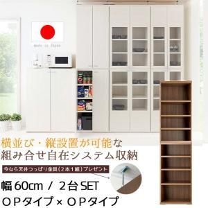 収納家具 幅60cm OPタイプ 2個セット 天井ツッパリ金具付き 日本製 完成品   ユニット式 壁面収納ラック キッチン収納 キャビネット|crescent
