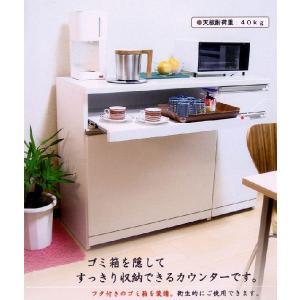 白いキッチンカウンター 幅90cm ダストボックス付き スライドテーブル付き 収キッチン収納 t005-m041-ctr-ca90|crescent