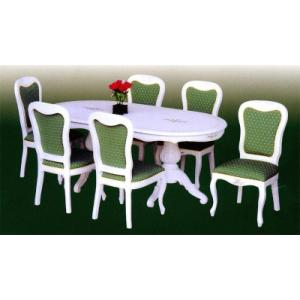 輸入家具 白家具 白いダイニングセット7点 GSR ダイニングセット 食卓テーブルセット 6人用|crescent