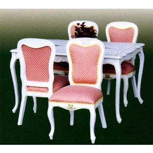 輸入家具 白家具 姫系 白いダイニングセット5点/ クラッシック 食卓テーブルセット 4人用|crescent