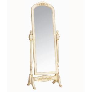 スタンドミラー 鏡 姿見 輸入家具 白家具 アンティーク ei880000 crescent