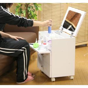 ドレッサー リビングでお化粧♪ 白家具 省スペースの多機能 ドレッサー 鏡台 ミラー|crescent