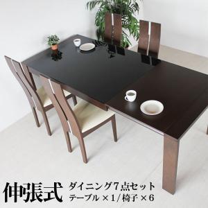 ダイニングテーブルセット 7点セット 北欧 伸縮式 6人 伸長式 伸縮 伸張式 ダイニングテーブル SOK 開梱設置送料無料|crescent
