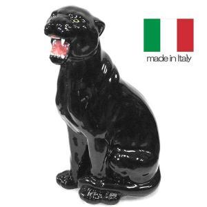 イタリア製 陶器 置物 黒ヒョウ  置き物|crescent