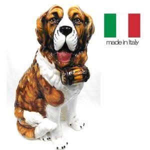 イタリア製 陶器 置物 犬 セントバーナード  置き物|crescent