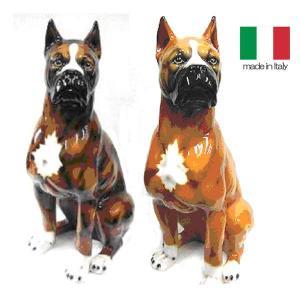 イタリア製 陶器 置物 犬 ボクサー|crescent