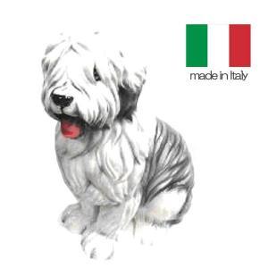 イタリア製 陶器 置物 犬 ボブテール  置き物|crescent