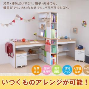 学習机 ツインデスク お子様二人に最適な高さ上下調節機能付き デスクが2台で|crescent