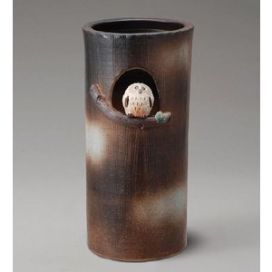 信楽焼 傘立て まんまるふくろう傘立 信楽焼き/滋賀県 日本の代表的な伝統工芸品 フクロウ 梟|crescent