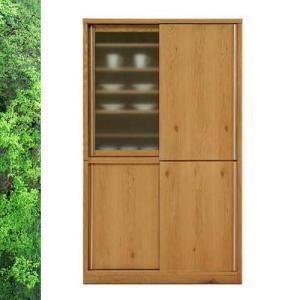 天然木 ホワイトオーク/ウォールナットの落ち着いた スライド 食器棚 キッチンボード 幅118cm SOK|crescent