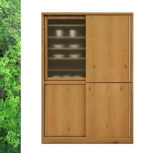 天然木 ホワイトオーク/ウォールナットの落ち着いた スライド 食器棚 キッチンボード 幅138cm SOK|crescent