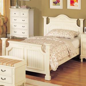 ベッド シングル 姫系 輸入家具 白いカントリー/シングルベッド  pt10|crescent