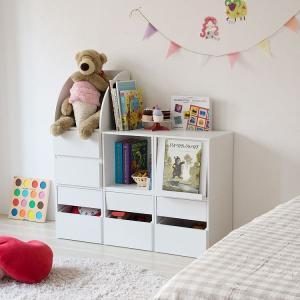 おもちゃラック 幅108cm キューブボックス7個セット 組立式 ベトナム製 トイボックス おもちゃ箱 子供部屋 キッズルーム オモチャ箱|crescent