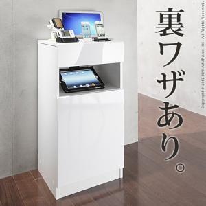 電話台 FAX台 ルーター収納 キャビネット 鏡面 ホワイト CONVEI SMART 幅40cm|crescent