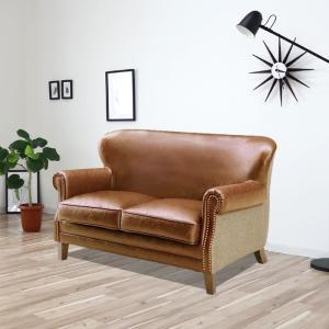 ビンテージ風 ソファー 2人掛け 合皮 キャメル、ダークブラウン レトロ 高級感 マットな質感 GOK|crescent