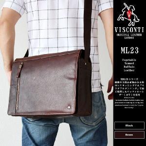 ショルダーバッグ 牛革 本革  VISCONTI ビスコンティ MERLIN ML23 斜め掛けバック ブラック/ブラウン   crescent