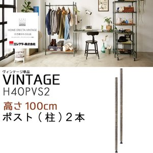 ポスト(柱)2本入りのみ シルバー H40PVS2 高さ100cm パーツ単品販売 ホームエレクター ヴィンテージシリーズ|crescent