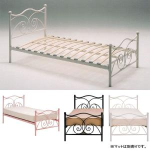 ベッド シングル 白いシングルベッド 3色 ホワイト、ピンク、ブラック  スチールベッド ロマンチック ロマンティック プリンセス お姫様 GOK|crescent