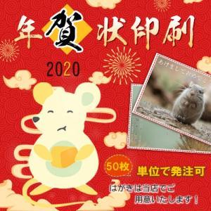 年賀状印刷 年賀はがき 2020 日本画デザイン50枚 令和二年 子年 格安 選べる枚数 差出人印刷...