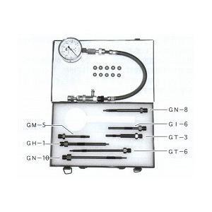 ディーゼルエンジンのノズルホルダー部、もしくはグロープラグ部に適合する付属アダプターを接続してコンプ...