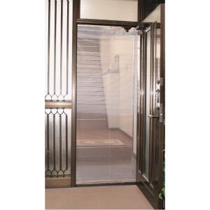 取り付け簡単な、本格的仕様の全開式玄関アミド。  ●ドア枠の上部に突っ張り棒を設置して、カーテンのよ...
