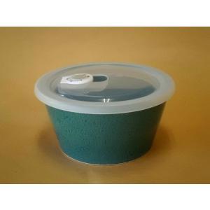 ナチュラルカラー パック鉢中(グリーン) 蓋つき保存容器|crococko