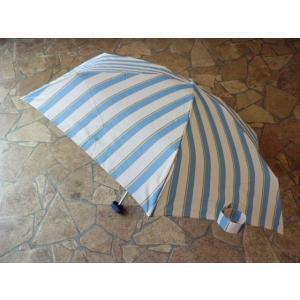 コンパクトポーチ ボールドストライプ折りたたみ雨傘(サックス)|crococko