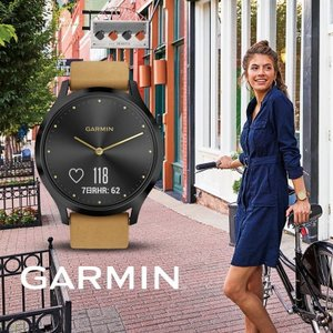 ガーミン GARMIN 正規品 vivomove HR Leather Onyx Black Tan...