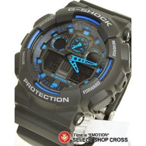 【名入れ対応】 【3年保証】 CASIO カシオ 腕時計 G-SHOCK Gショック メンズ 人気 GA-100-1A2 GA-100-1A2DR ブラック 黒 ブルー 青 海外モデル  あすつく|cross9