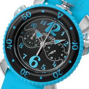 ガガ ミラノ GAGA MILANO クロノ スポーツ 45mm クオーツ メンズ 腕時計 701003 ブラック 黒 ブルー おしゃれ ポイント消化|cross9