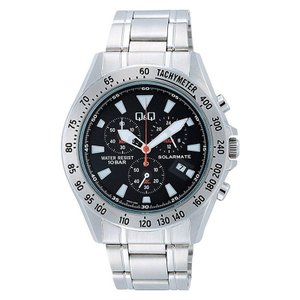 シチズン CITIZEN Q&Q キューアンドキュー 時計 ソーラーメイト SOLARMATE クロノグラフ 10気圧防水 メンズ 腕時計 H022-202 ブラック ポイント消化|cross9