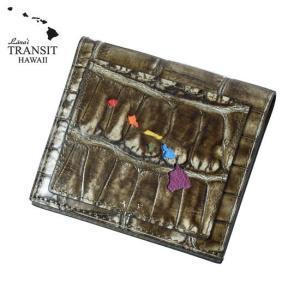 【ブランド紙袋付】 Lanai TRANSIT HAWAI ラナイ トランジット ハワイ 限定 Rainbow Smart Case Wallet 二つ折り財布 クロコ型押し ダークブラウン LT-70666-BR|cross9